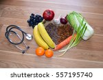 healthy food.stethoscope ... | Shutterstock . vector #557195740