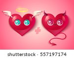 devil and angel hearts on pink... | Shutterstock .eps vector #557197174