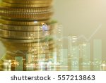 double exposure of coins with... | Shutterstock . vector #557213863