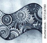 3d metallic gears background | Shutterstock . vector #557218780