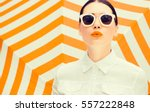 fashion portrait of a beautiful ... | Shutterstock . vector #557222848