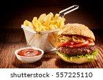 studio shot of high burger with ... | Shutterstock . vector #557225110