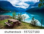 beautiful nature norway natural ... | Shutterstock . vector #557227183