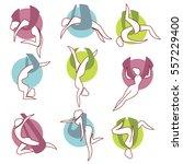 icon set asana anti gravity... | Shutterstock .eps vector #557229400