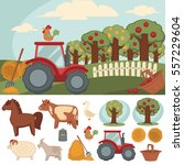 icons set of farm and farming.... | Shutterstock .eps vector #557229604