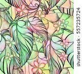 floral watercolor seamless... | Shutterstock . vector #557235724