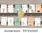 colorful cute monthly calendar...   Shutterstock .eps vector #557252329
