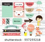 cute note and sticker with girl ... | Shutterstock .eps vector #557255218