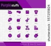 purple stuffs vector icons set... | Shutterstock .eps vector #557255824