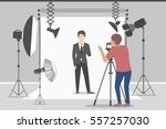 male model in photo studio.... | Shutterstock .eps vector #557257030
