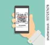 scanning qr code with... | Shutterstock .eps vector #557257678