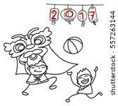 hand drawing cartoon character... | Shutterstock .eps vector #557263144