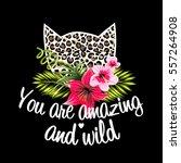 leopard print cat fashion... | Shutterstock .eps vector #557264908