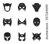 superhero mask set icons in... | Shutterstock .eps vector #557269090