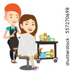 stylish hairdresser cutting... | Shutterstock .eps vector #557270698