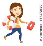 caucasian paramedic running to... | Shutterstock .eps vector #557272510