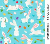 cute white rabbit seamless... | Shutterstock .eps vector #557279260