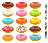 colorful glazed donuts icons... | Shutterstock .eps vector #557285380