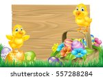 isolated wooden easter sign... | Shutterstock . vector #557288284