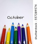 Small photo of Months concept using pencil color and month of October text