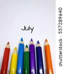 Small photo of Months concept using pencil color and month of July text