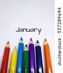 Small photo of Months concept using pencil color and month of January text