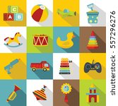 different kids toys icons set.... | Shutterstock .eps vector #557296276