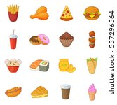 fast food icons set. cartoon... | Shutterstock .eps vector #557296564