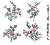 abstract flower set  fantasy... | Shutterstock .eps vector #557298016