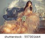 fashionable portrait of... | Shutterstock . vector #557301664