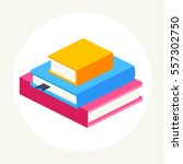 stack of colored close books in ... | Shutterstock .eps vector #557302750