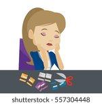 caucasian businesswoman cutting ... | Shutterstock .eps vector #557304448