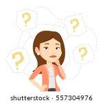 thinking businesswoman standing ... | Shutterstock .eps vector #557304976