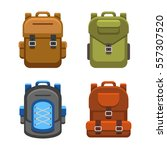 backpack bag flat style set.  | Shutterstock . vector #557307520