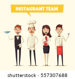 restaurant team. cartoon vector ... | Shutterstock .eps vector #557307688