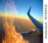 Small photo of Fire in aircraft engine while in flight