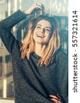 happy shine woman smiling to... | Shutterstock . vector #557321614