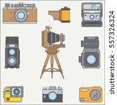 line flat color vector icon set ... | Shutterstock .eps vector #557326324
