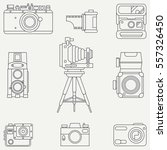 line flat vector icon set with... | Shutterstock .eps vector #557326450