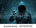 young hacker in data security... | Shutterstock . vector #557329330