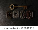 four vintage locks with a gold... | Shutterstock . vector #557342410