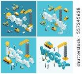 set 2 isometric concept ... | Shutterstock .eps vector #557345638