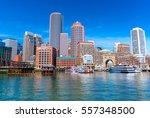 boston cityscape reflected in... | Shutterstock . vector #557348500