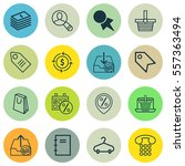 set of 16 commerce icons.... | Shutterstock .eps vector #557363494