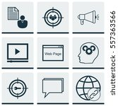set of 9 marketing icons.... | Shutterstock .eps vector #557363566