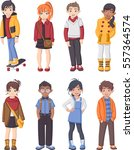 group of cartoon fashion... | Shutterstock .eps vector #557364574