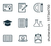 set of 9 education icons.... | Shutterstock .eps vector #557364700