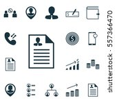 set of 16 human resources icons.... | Shutterstock .eps vector #557366470