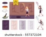young careless woman walking... | Shutterstock .eps vector #557372104