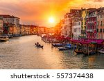 grand canal with gondolas in... | Shutterstock . vector #557374438